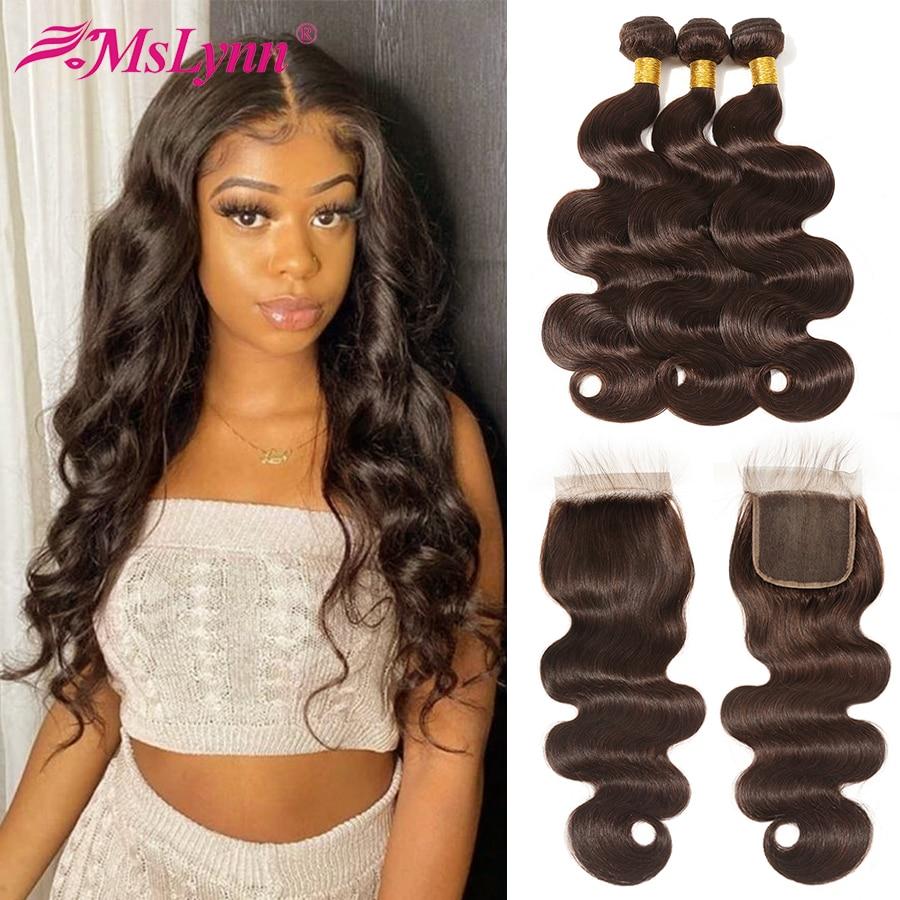 Body Wave Bundles With Closure Brazilian Hair Weave Bundles Human Hair Bundles With Closure Remy Dark/Light Brown #2 #4 Mslynn