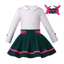 PettigirlWholesale nowa, jesienna strój bożonarodzeniowy dziewczyna bluzka + sukienka ciemnozielone dziewczyny sukienki księżniczki na przyjęcie zestaw ubrań dla dzieci