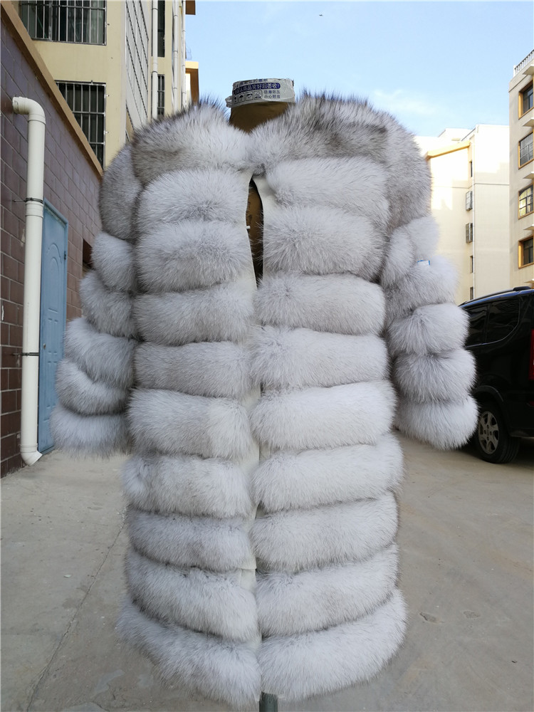 100% Natural Real Fox Fur Coat Women Winter Genuine Vest Waistcoat Thick Warm Long Jacket With Sleeve Outwear Overcoat plus size 47