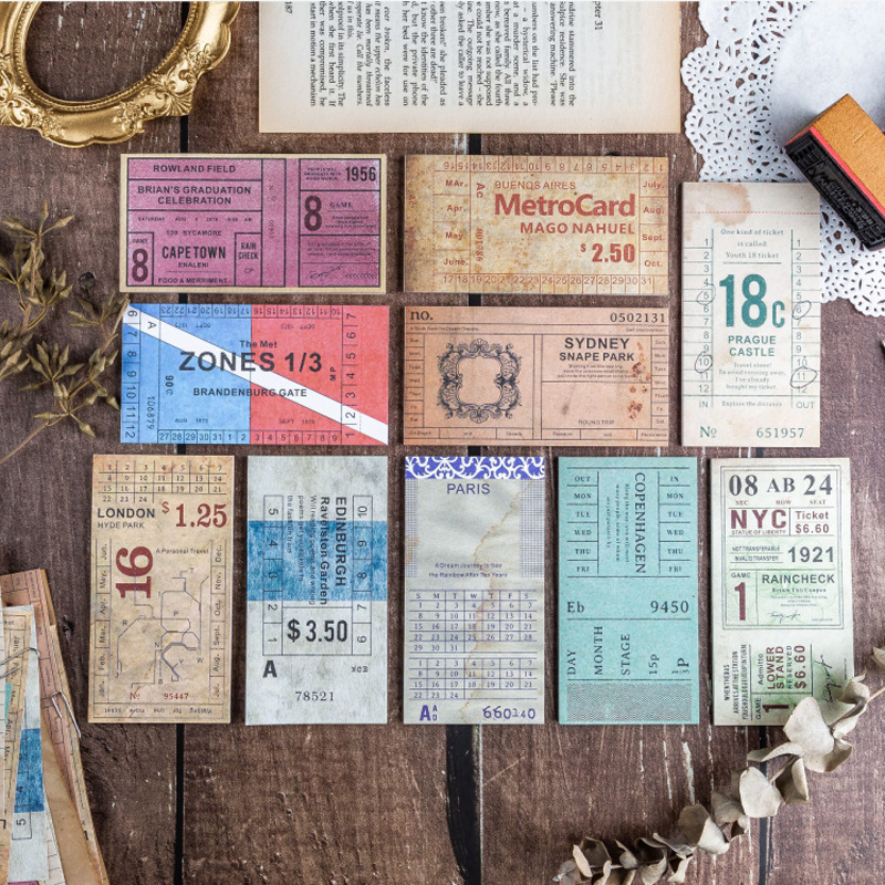 30 Pcs Retro Travel Ticket Series Memo Pad Message Notes Decorative Vintage Notepad Note Paper Memo Stationery Office Supplies