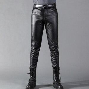 Image 5 - Thoshine מותג גברים עור מכנסיים Slim Fit אלסטי סגנון אביב קיץ אופנה עור מפוצל מכנסיים אופנוע מכנסיים Streetwear