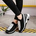 Planos de las mujeres zapatillas de deporte de malla de aire suave, de punto zapatos vulcanizados zapatos de cabeza redonda transpirable Mujer de talla grande zapatos casuales zapatos de 35-45