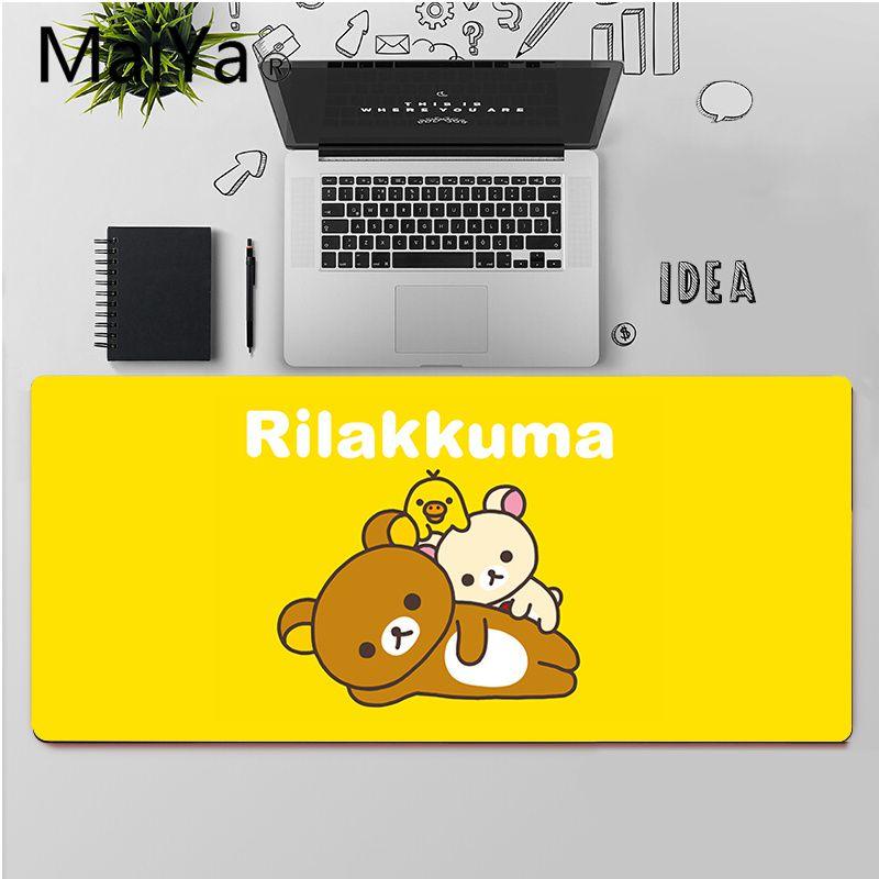 Высококачественный Прочный резиновый коврик для мыши Maiya Cute rilakkuma, бесплатная доставка, большой коврик для мыши, коврик для клавиатуры-5