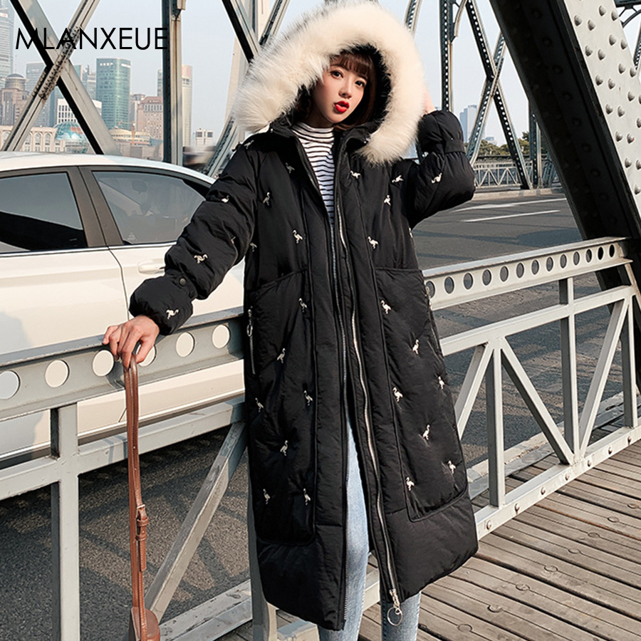 Embroidery Winter Fur Hooded Long Down Coats Women Solid Plus Size Thicken Female Jacket With A Zipper Harajuku Women'S Outwears