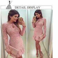 Chegada nova vestidos femininos moda casual vestido de renda 2019 o-pescoço manga rosa vestidos de festa à noite tendência