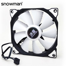 Sneeuwpop 120 Mm Pwm 4 Pin Computer Case Fan Stille 12 Cm Fan Cpu Koelventilator Rustige Pc Cooler Fan case Fans 12V Dc Aanpassen Ventilatorsnelheid(China)
