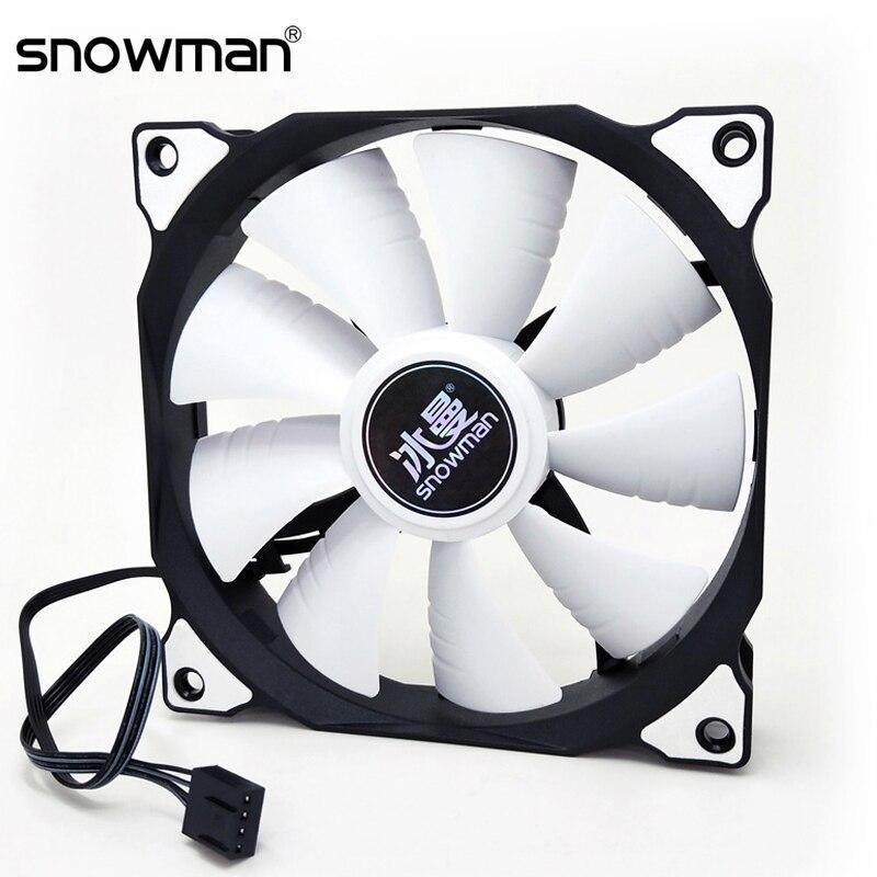 SNOWMAN 120mm PWM 4 Broches Boîtier D'ordinateur Ventilateur Silencieux 12 CM Ventilateur De Refroidissement CPU Silencieux PC Refroidisseur Ventilateur Boîtier Ventilateurs 12V DC Ajuster La Vitesse Du Ventilateur