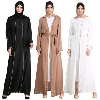 Women Muslim Open Cardigan Abaya Middle East Gown Jilbab Cocktail Kaftan Party Maxi Robes Arab Turkey Dress Belt Casual Dresses фото