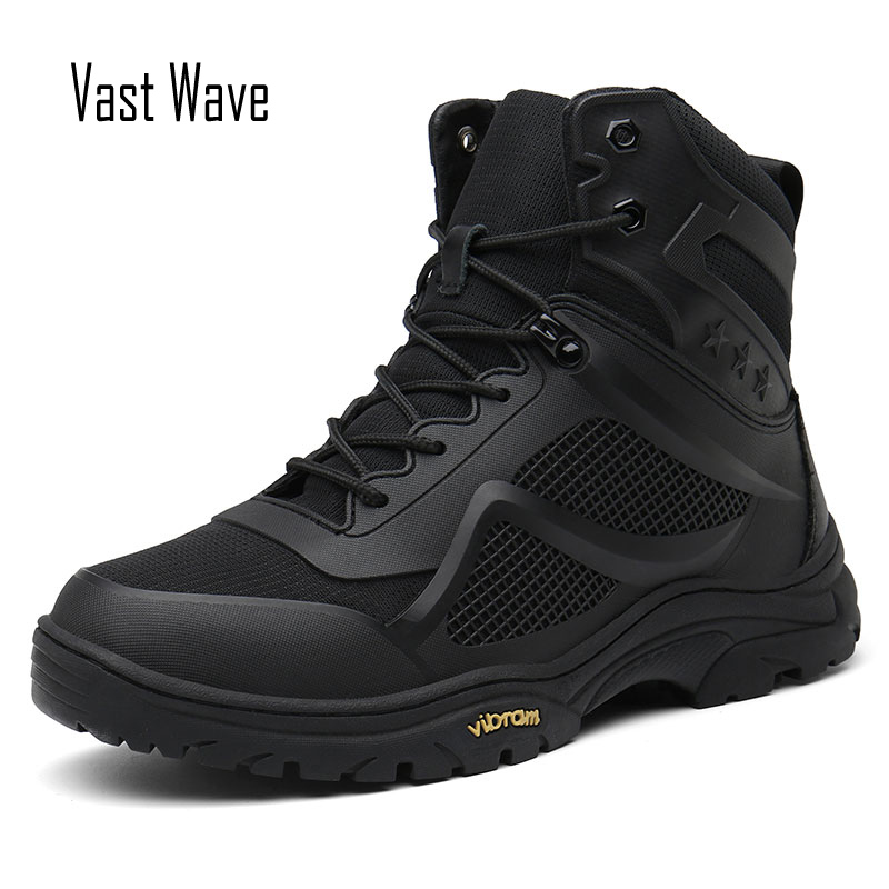 Vastwave Trekking Army Boots Military Boots Men Tactical Boots Zip Army Tactical Desert Combat Boots Safety Hiking Shoe Snow