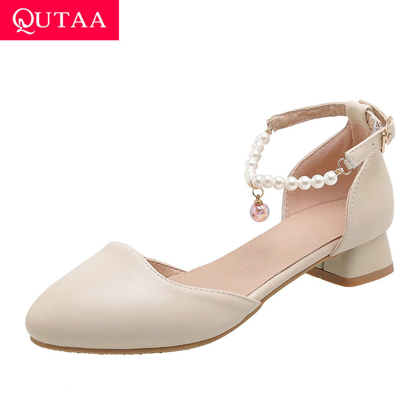 QUTAA 2020 PU Leather Elegant Ladies Sandals Pointed Toe Women Pumps Square Heel String Bead Buckle Women Shoes Big Size 34-43
