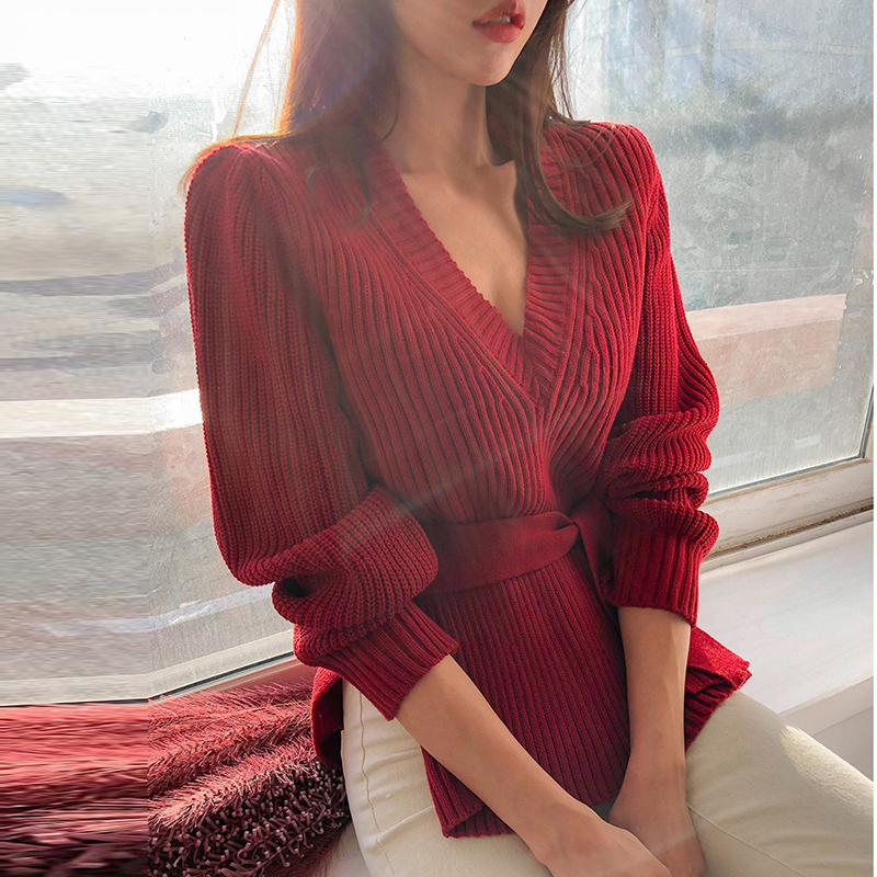Autumn Winter Lace Up Knitted Sweater Elegant Ladies Solid Top Long Sleeve Split Sweater Pullover Female Sexy V Neck Jumper