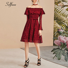 Short Burgundy Caual Dress A-Line Ruffles Off The Shoulder Hollow Out Ladies Dress Elegant Lace Party Dress Robe Femme 2019 off the shoulder hollow out lace skinny slimming dress