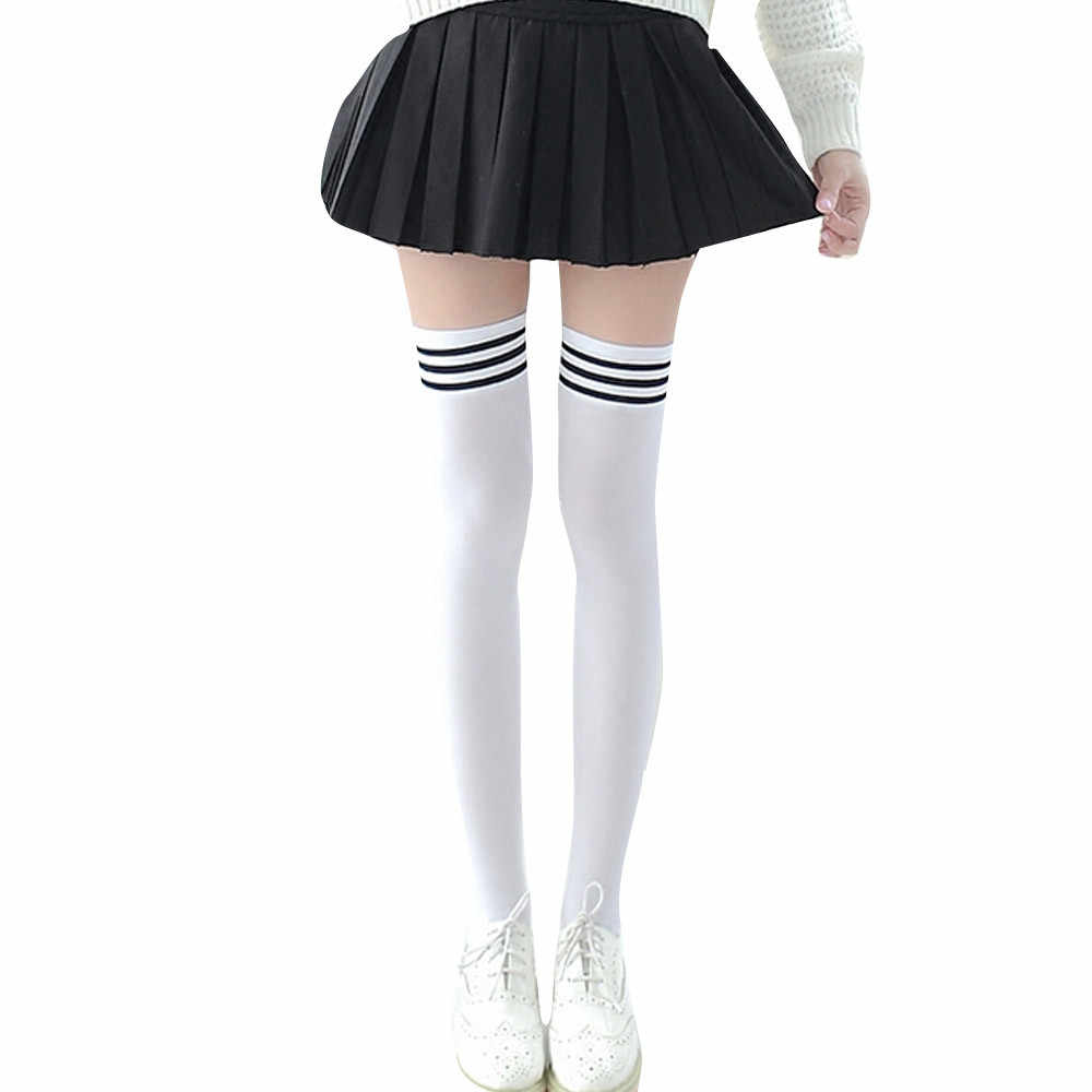 Harajuku נשים גרב מעל הברך פסים ירך גבוהה מעל הברך גבוהה גרבי בנות מוצק ארוך גרבי ילדה סתיו חורף גרב skarpetki