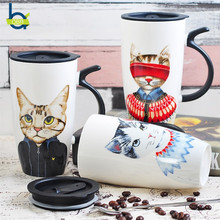 OBR 600ml Ceramic Cups Creative Cute Cat Tumbler Reusable Coffee Mug With Tea Cup Friends Couple Funny Tasse Lid