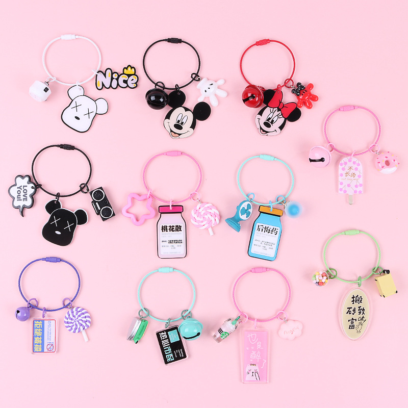 Acrylic Keychain Anime Mickey Keychain Transparent Car Keychain Ring for Women Bag Pendant Charms Key chain Accessories image