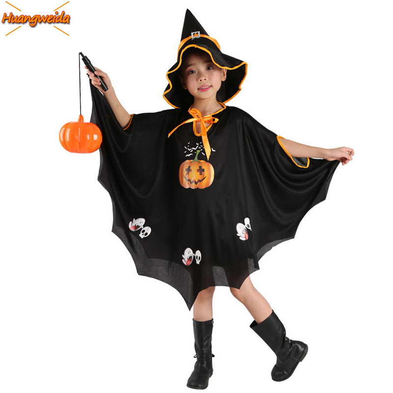 Horror Witch Costumes Scary Costume Halloween Clothes Pumpkin Cloak Children Halloween Costumes For kids Robe Hat Witch Kids