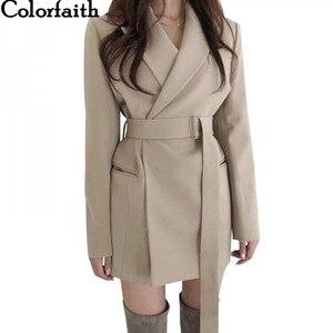 Image 1 - Colorfaithใหม่ 2020 ฤดูใบไม้ร่วงฤดูหนาวผู้หญิงBlazers Sashesแจ็คเก็ตNotchedแจ๊กเก็ตสไตล์อังกฤษเสื้อสเวตเตอร์ถักเสื้อJK9715