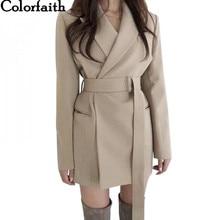 Colorfaith Neue 2020 Herbst Winter frauen Blazer Schärpen Jacken Kerb Oberbekleidung England Stil Solide Strickjacke Tops JK9715