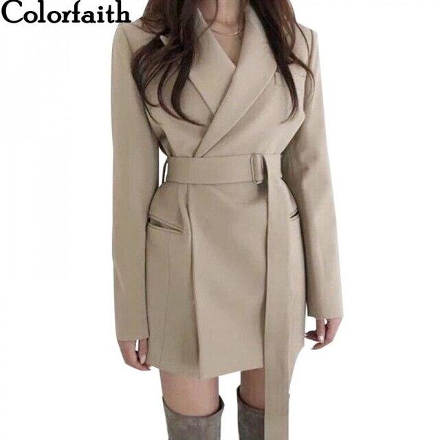 Colorfaith New 2020 가을 겨울 여성 블레이저 새시 자켓 노치 아우터 영국 스타일 솔리드 가디건 탑 JK9715