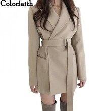 Couleur nouvelle 2020 automne hiver femmes Blazers ceintures vestes crantée vêtements dextérieur angleterre Style solide Cardigan hauts JK9715