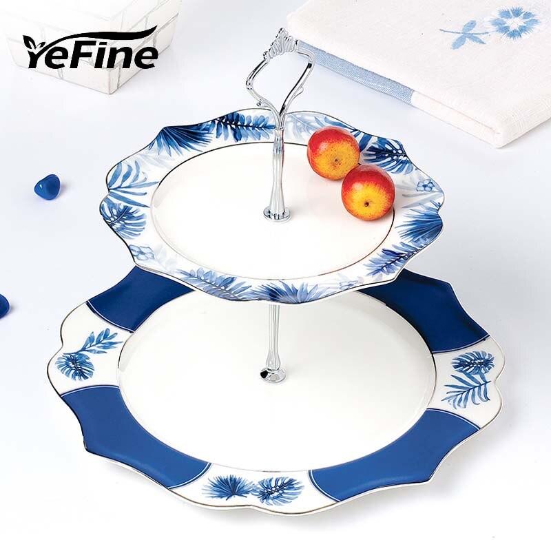 YeFine service de plats et assiettes à Double couche | En porcelaine, support de Snack, pâtisserie de luxe gâteau en porcelaine plat de fruits, plateau en céramique