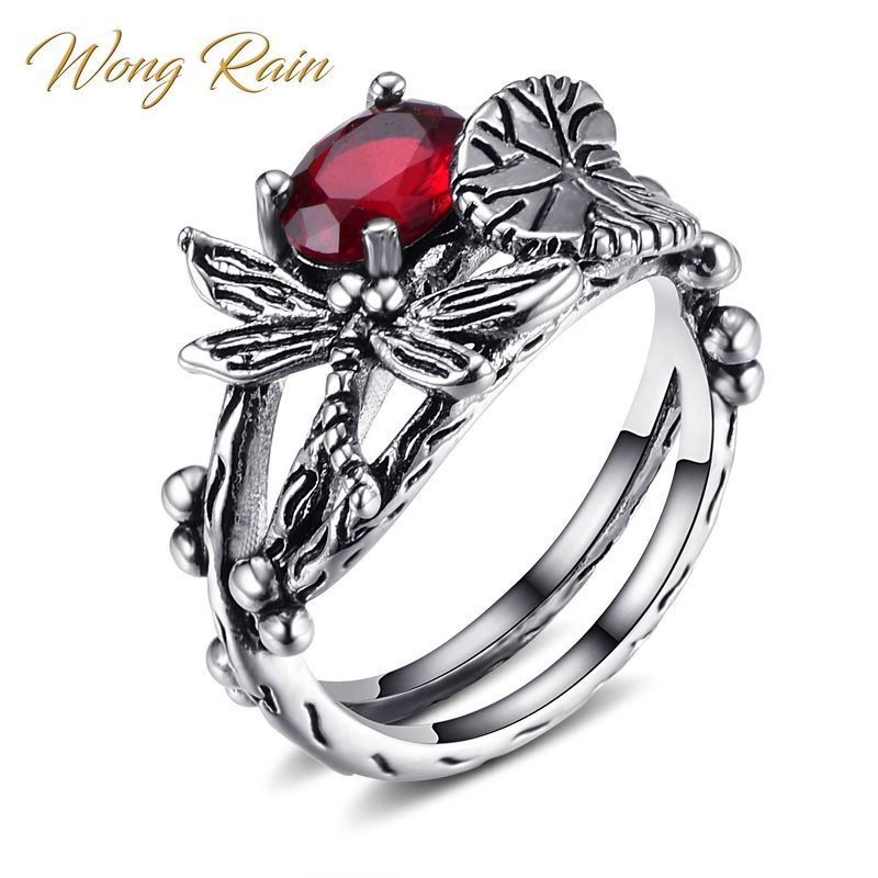 Wong Rain Vintage 100% 925 Sterling Silver Ruby Sapphire Gemstone Wedding Engagement Cocktail Party Ring Fine Jewelry Wholesale
