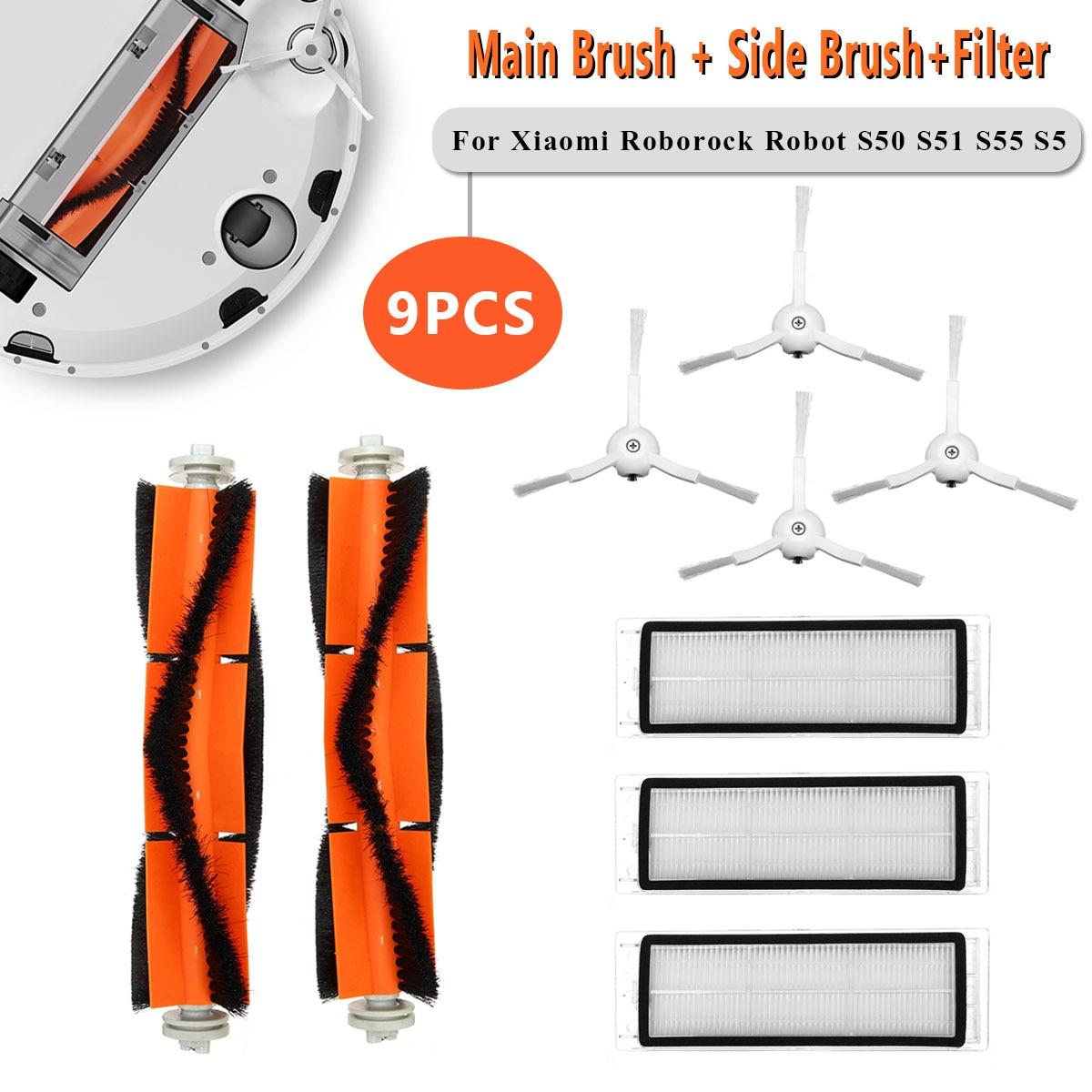 9 pçs peças de aspirador hepa filtro principal escova para xiaomi roborock s50 s51 s55 s5 robô aspirador acessórios