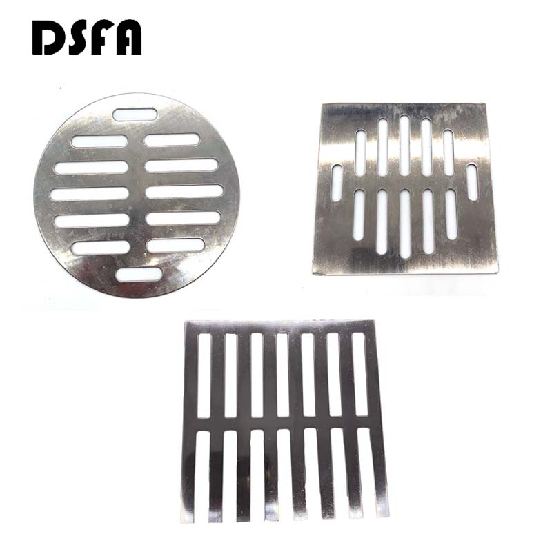 DSFA Square Round Floor Drain Covers Bathroom Supplies Silver Tone Round Stainless Steel Floor Drain Covers