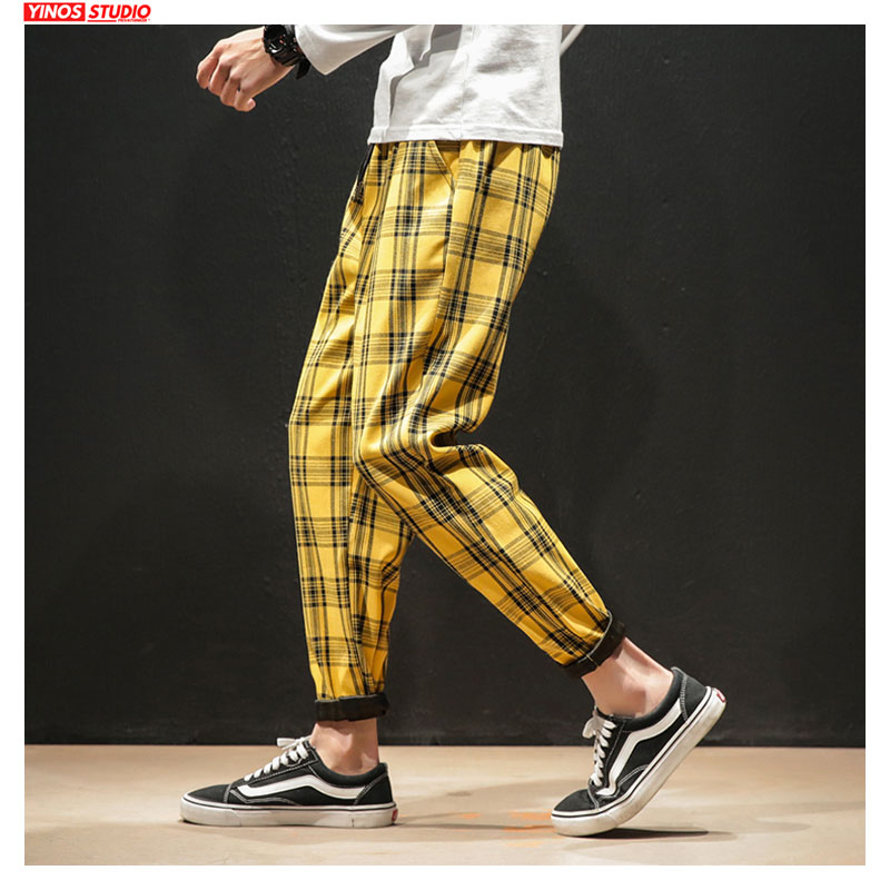 Dropshipping Japanese Streerwear Men Plaid Pants 2020 Autumn Fashion Slim Man Casual Trousers Korean Male Harem Pants