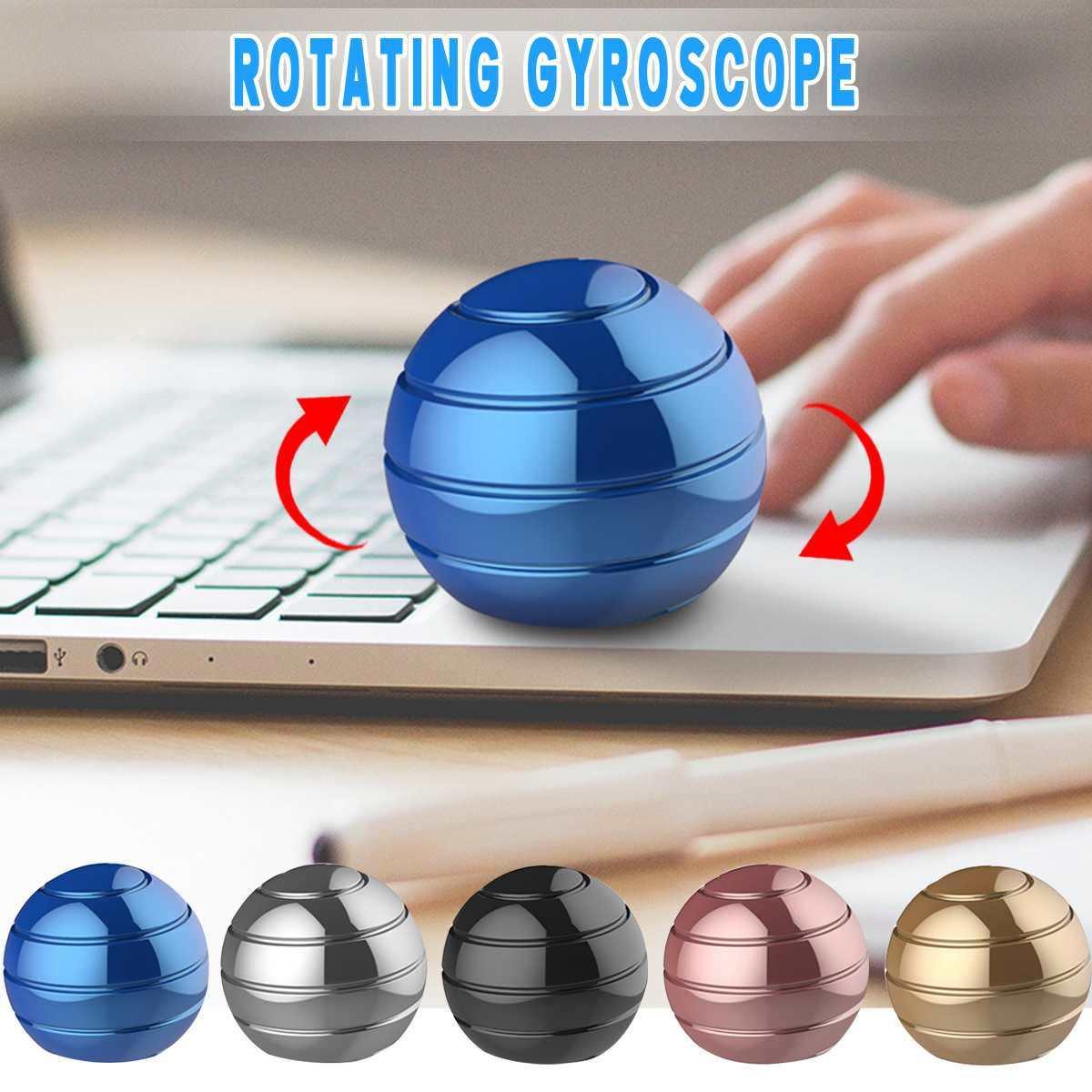 Desktop Decompression Rotating Spherical Gyroscope Metal Spinning Top Office Desk Fidget Finger Toys Office Pressure Relief Gift