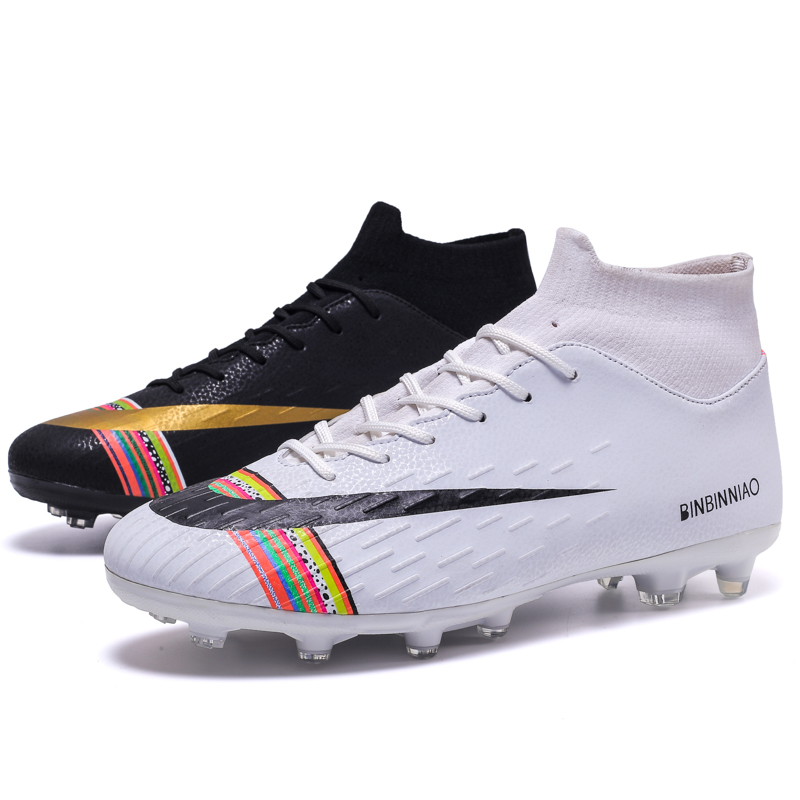 New Men's High Top Training Ankle AG Sole Outdoor Cleats Football Shoes Spike High Ankle Men Crampon Football Boots Original Cle