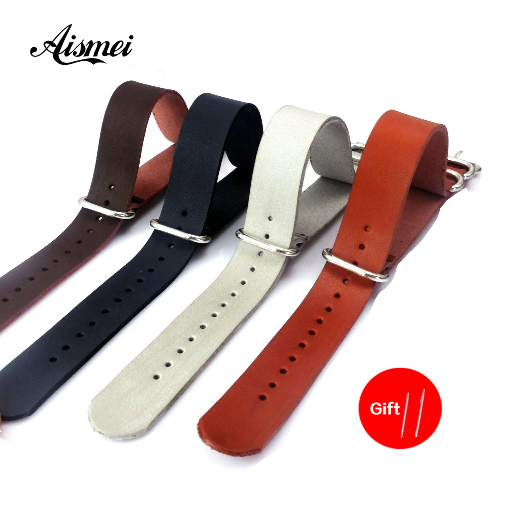 Top Quality PU Leather ZULU Watchband Strap NATO Imitation Leahter Watch Band 18mm 20mm 22mm 24mm Watch Accessories
