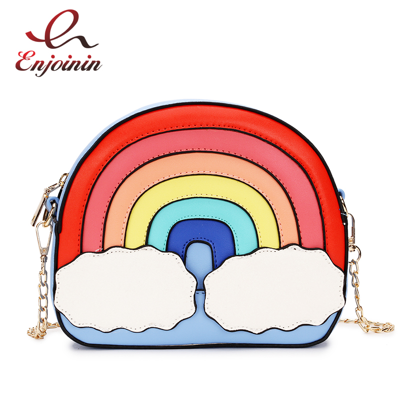 Fashion Fun Rainbow Design Stitching Color Cute Casual Ladies Chain Purse Shoulder Bag Handbag Women's Crossbody Messenger  Bag
