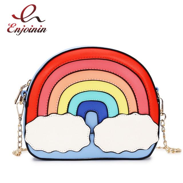 Fashion fun rainbow design stitching color cute casual ladies chain purse shoulder bag handbag womens crossbody messenger  bag