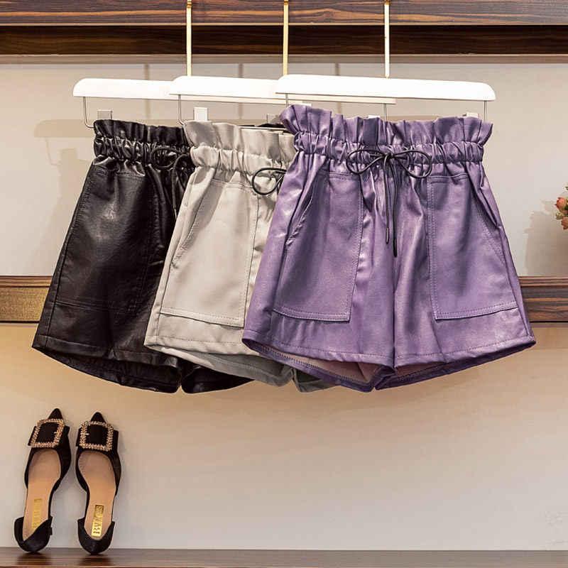 Kulit Celana Pendek Wanita 2019 Baru Musim Gugur dan Musim Dingin Longgar Lebar Kaki Fashion Tinggi Pinggang A-line Liar Slim Sepatu Pantalon Femme f1511