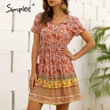 Simplee Casual floral print women dress Boho v neck high waist tassel summer dress Short sleeve strap holiday beach party dress