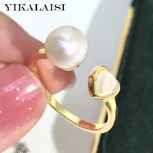 YIKALAISI 925 Sterling Silver Rings Jewelry For Women 8-9mm Round Natural Freshwater Pearl Rings Heart Shaped New Wholesales(China)