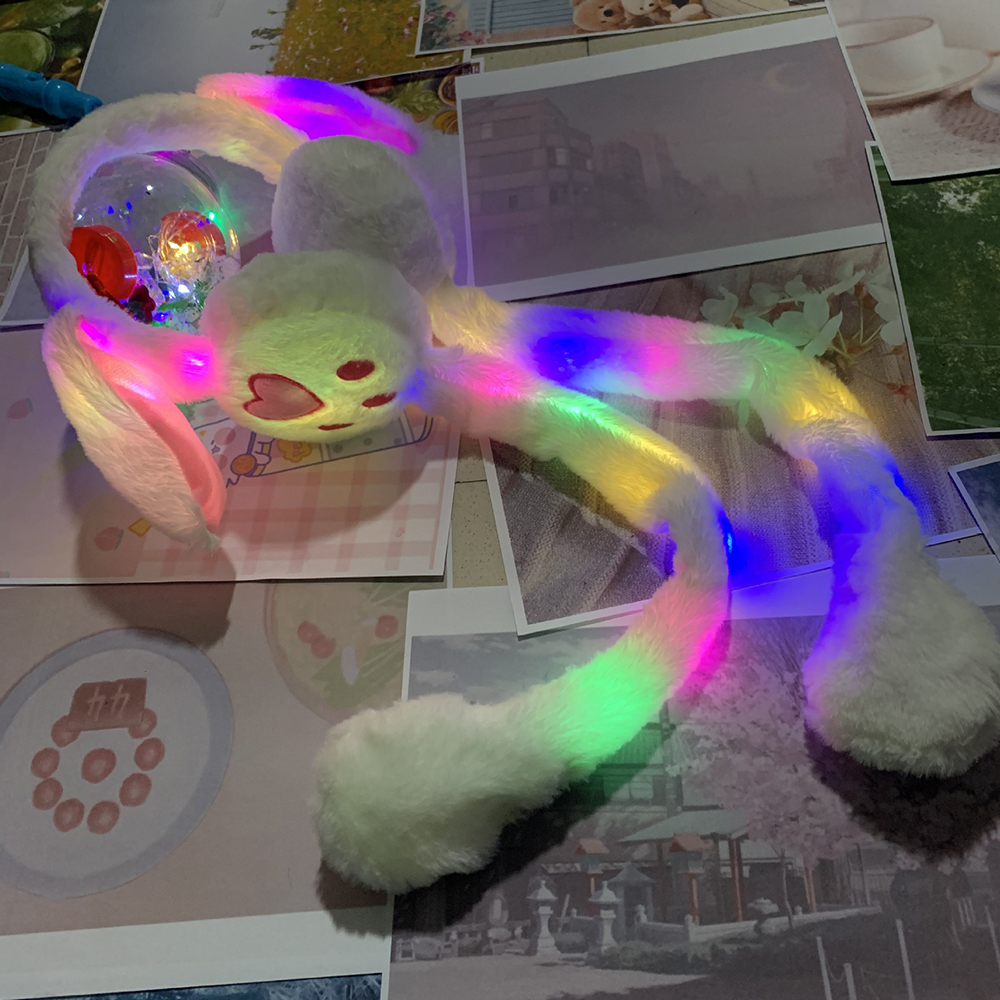 Winter LED Shine Moving Rabbit Ear Hat Velvet Toys With Light Hair Hoop Hat Earmuffs Plush  For Children Warm Earmuffs Toy