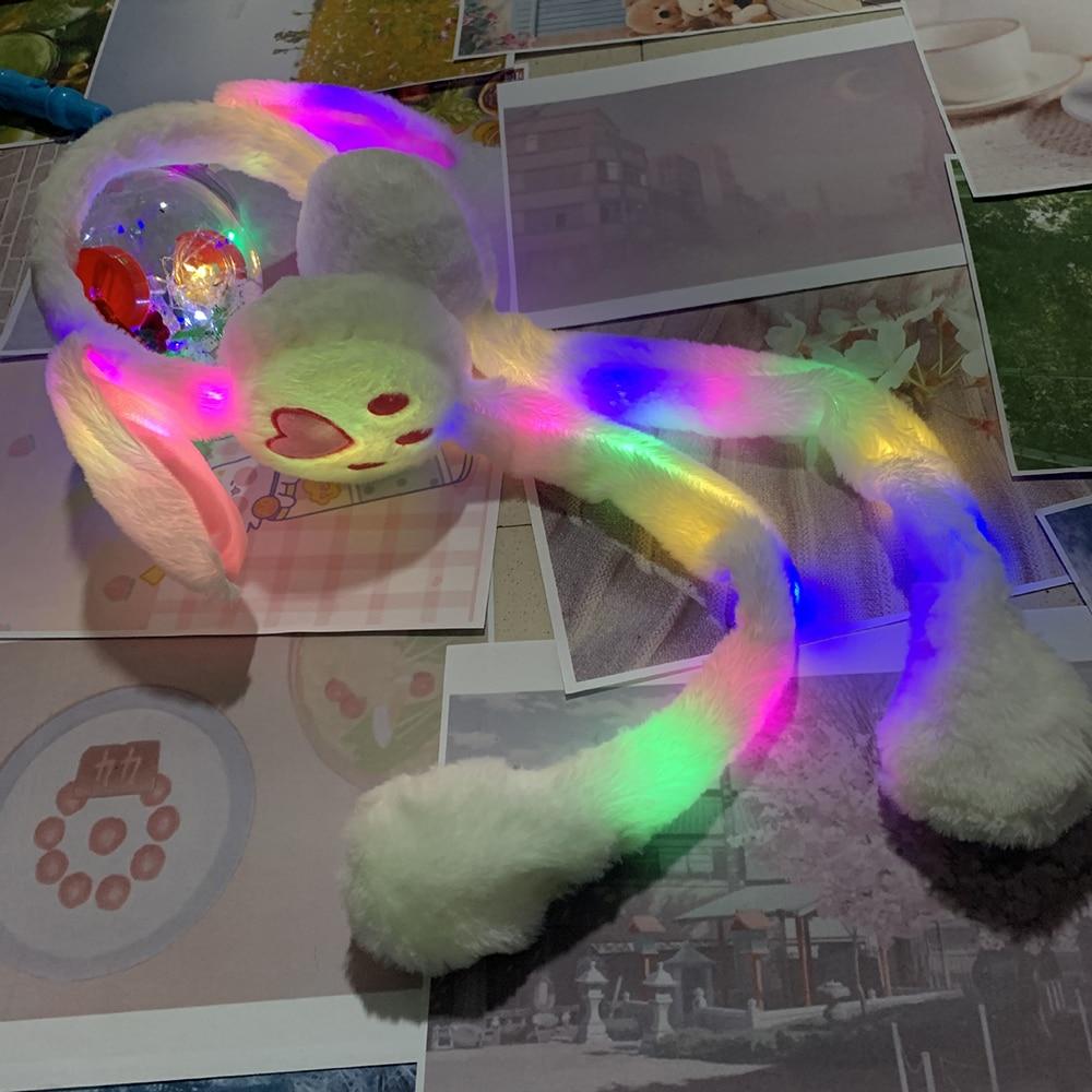 Winter LED Shine Moving Rabbit Ear Hat Velvet Toys With Light Hair Hoop Hat Earmuffs Plush  For Children Warm Earmuffs Toy