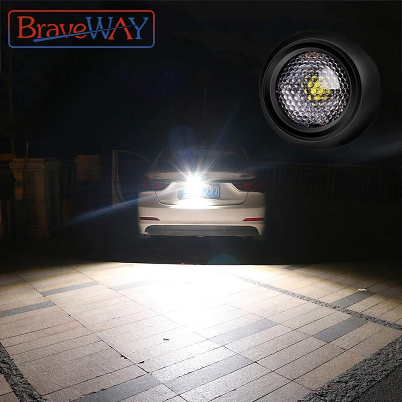 BraveWay LED Extra Reversing Light For Car Backup Lamp Auxiliary Led Work Light 12V Fog Lamp Flood Beam LED Reverse Lights 1156