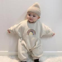 Winter Baby Boy Girl Warm Thick Clothes Baby Romper Baby Long Sleeve Rainbow Jumpsuit Newborn Toddler Neri Plus Cashmere Romper
