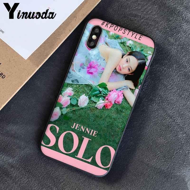 Yinuoda สำหรับ iphone 7 XSMAX กรณี solo JENNIE สีดำสีชมพูที่มีสีสันสำหรับ iphone 7 6 6S 8 Plus X 5 5S SE XR XS XSMAX