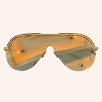 Oversize Half Frame Gradient Sunglasses Women Cover One Piece Goggle Shades Female