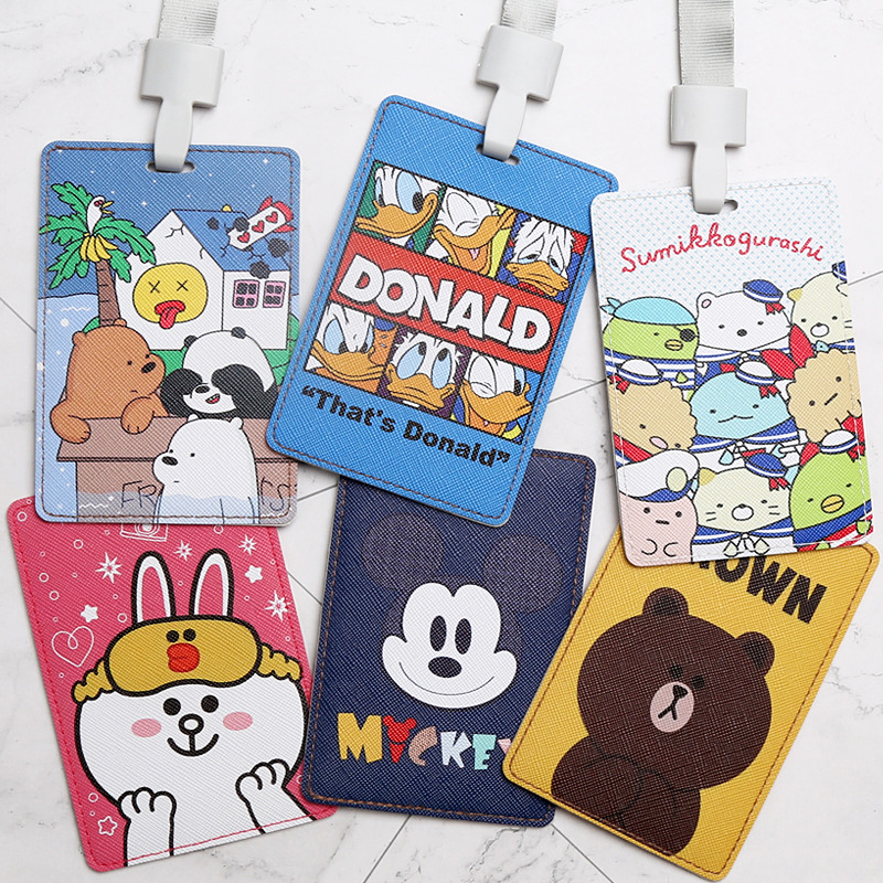 New Cartoon Leather Work Card Holders Women Men Bank Credit Card Bag Neck Strap Card Bus ID Holders Identity Badge With Lanyard