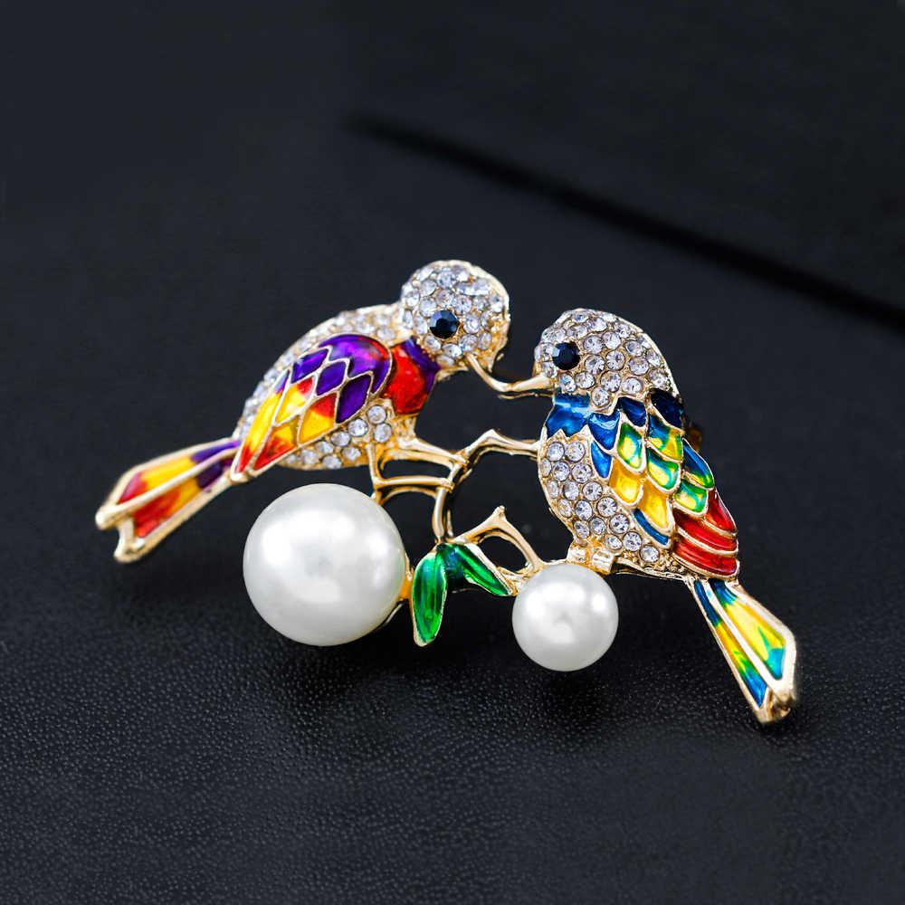 Hummingbird Parrot Menelan Burung Elang Cabang Bros Enamel Rhinestones Bros Hewan Burung Cabang Jilbab Pin Bros Pin