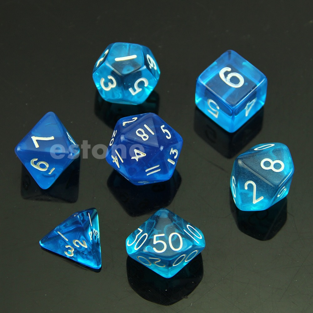 RPG D & DND поли кости Настольная игра Набор из 7 кубика D4 D6 D8 D10 D12 D20