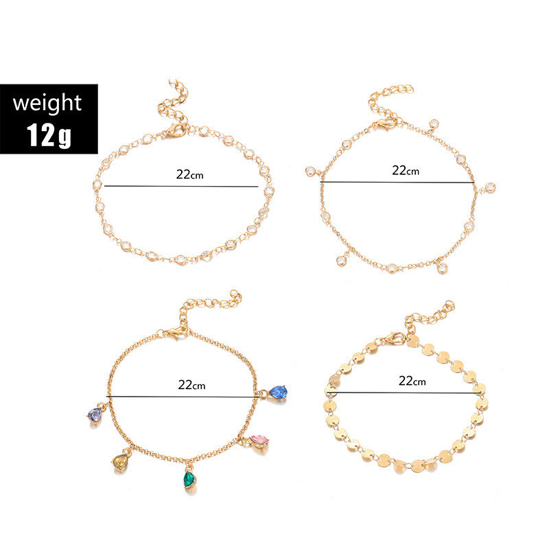 4 Pcs/Set Boho Gold Colorful Crystal Wafer MultiLayer Anklets for Women Chains Adjustable Anklets Set Foot Jewelry Accessories 1