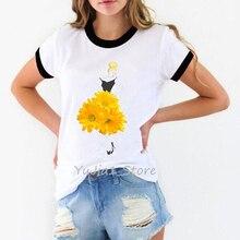 Fashion Chrysanthemums Art print Novelty ringer tee shirt femme harajuku kawaii t shirt funny women's shirts female t-shirt