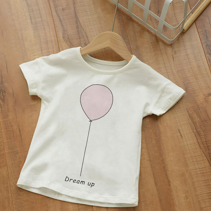 Cute Style T <font><b>Shirt</b></font> Boy <font><b>Best</b></font> <font><b>Friend</b></font> And Pink Balloon Dream Up Fashion Printing T-<font><b>shirt</b></font> Girl White <font><b>Kid</b></font> Clothes Kawaii Short Sleeve image