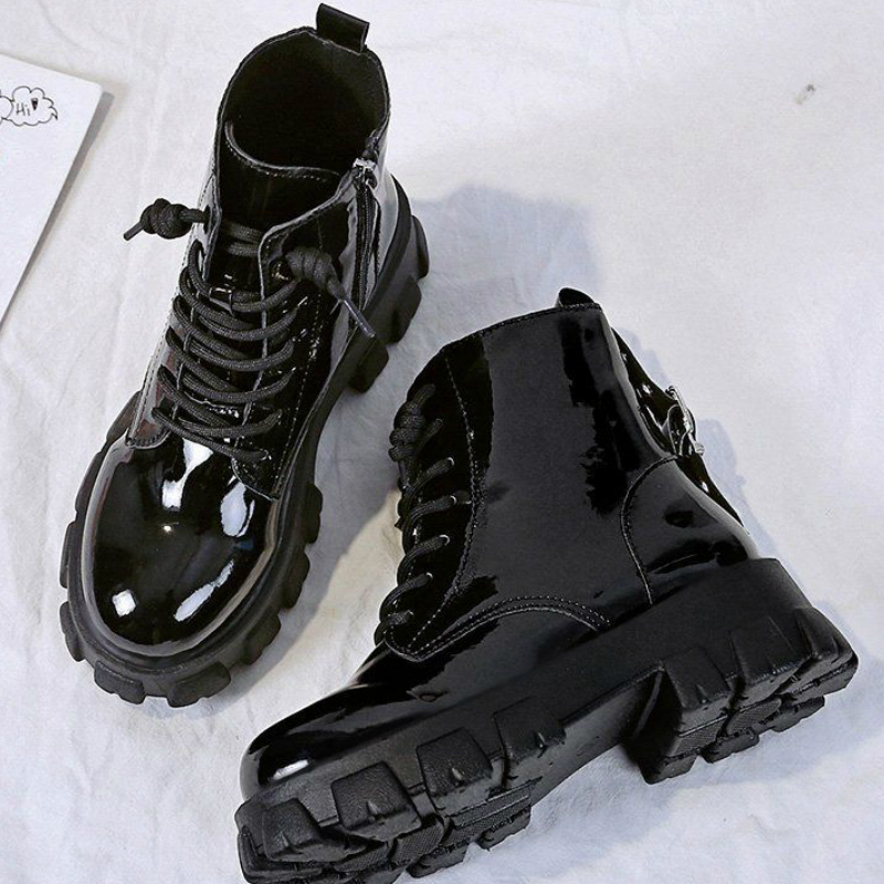Bright black leather